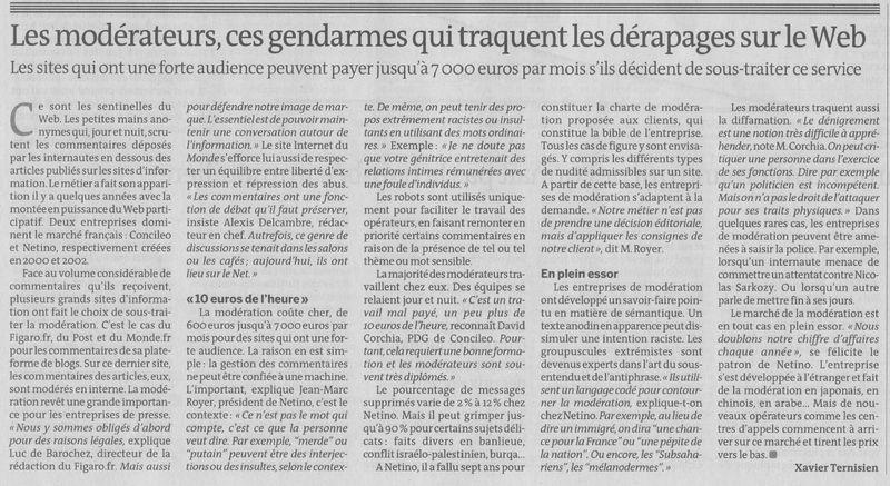 Article LeMonde : Les modérateurs, ces gendarmes qui traquent les dérapages sur le Web