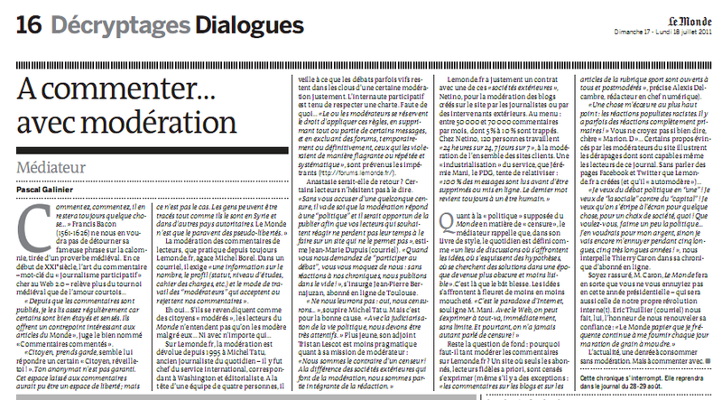 Article LeMonde : A commenter ... avec modération