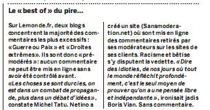 Brève Le Monde : blog sans moderation