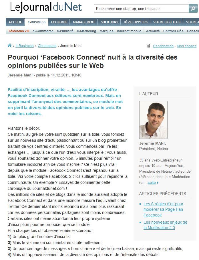 """Tribune dans le JDN : Pourquoi """"Facebook connect"""" nuit à la diversité des opinions publiées sur le Web"""