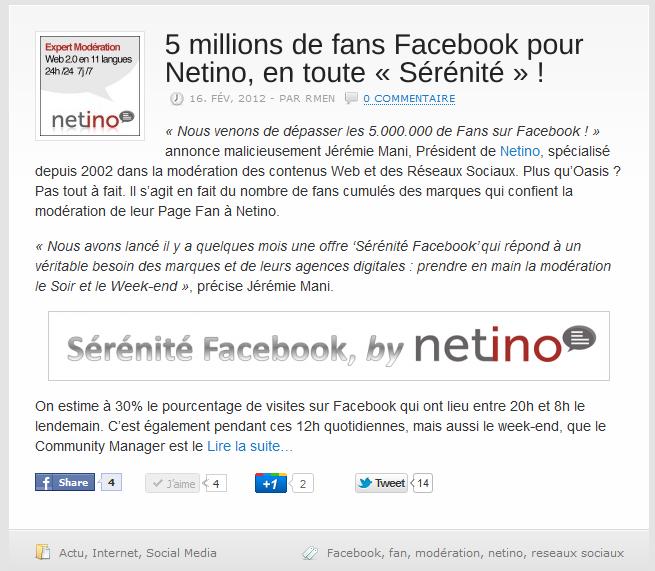 Article Frenchweb : 5 millions de Fans pour Netino