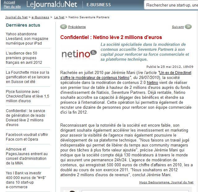 Article JDN : Netino lève 2 millions d'euros
