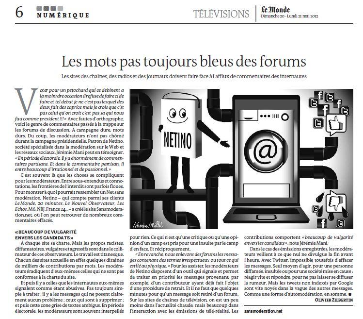 Article supplément TV Le monde : Les mots pas toujours bleus des forums