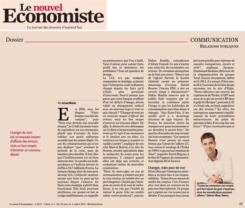 Le Nouvel Economiste intérroge Netino