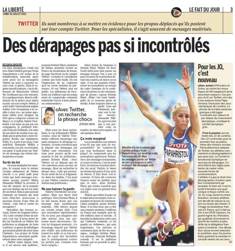 Article La Liberté : Des dérapages pas si incontrôlés