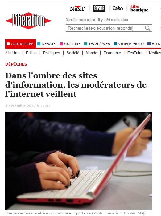 """Article : """"Dans l'ombre des sites d'information, les modérateurs de l'Internet veillent"""""""
