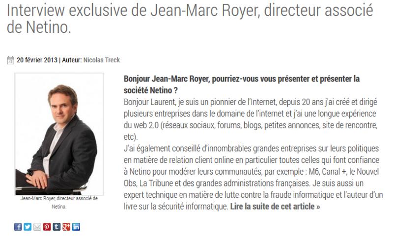 Interview Jean-Marc Royer, fondateur de Netino