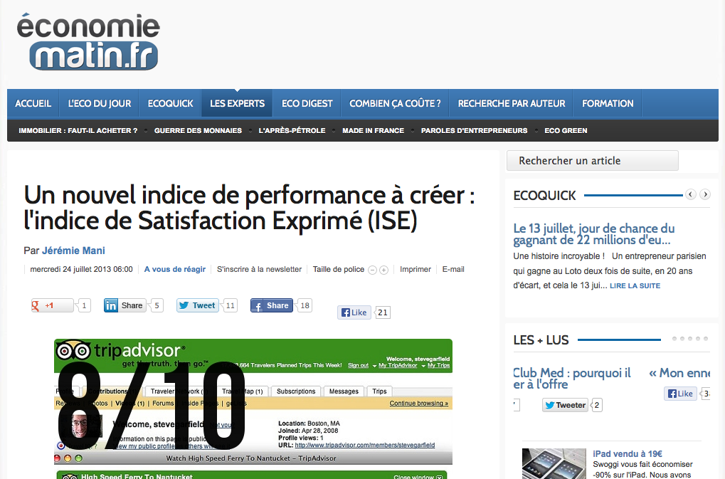 Tribune de Jérémie Mani sur Economie Matin : Un nouvel indice de performance à créer : l'indice de satisfaction exprimée (ISE)