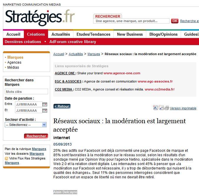 Sondage Netino Modération Facebook magazine Stratégies