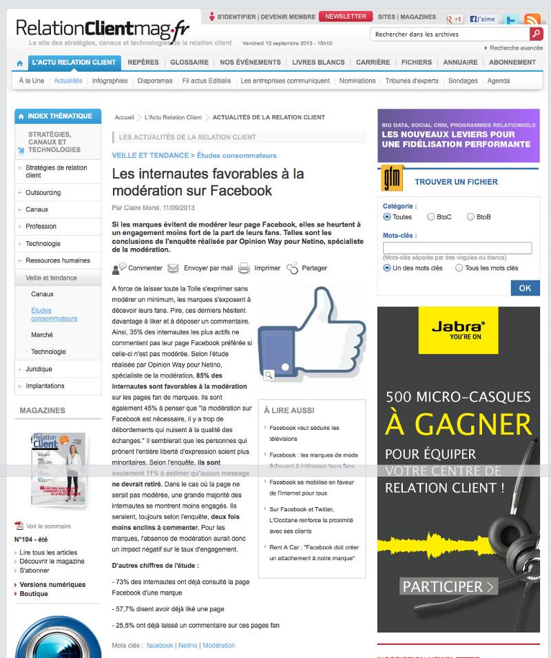 Sondage Netino / Opinion Way repris par le magazine Relation client magazine