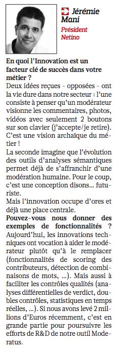 Jérémie Mani interviewé par le Figaro Eco