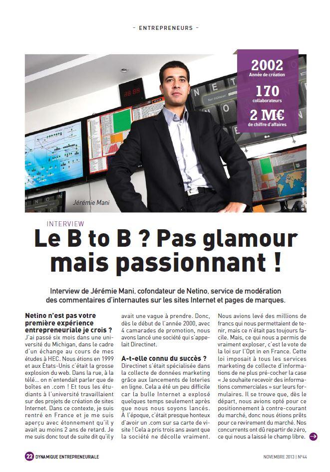 Interview de Jérémie Mani dans le magazine dynamique entrepreunariale