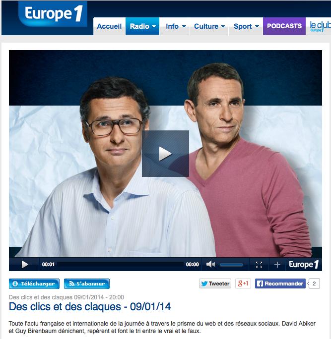"""Interview de Jérémie Mani sur l'émission d'Europe 1 """"Des clics et des clacs"""" sur Europe 1"""