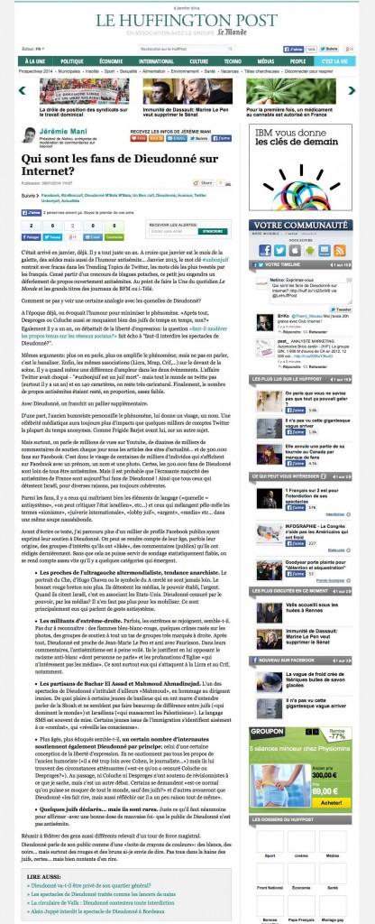 Tribune de Jérémie Mani publiée dans le HuffingtonPost