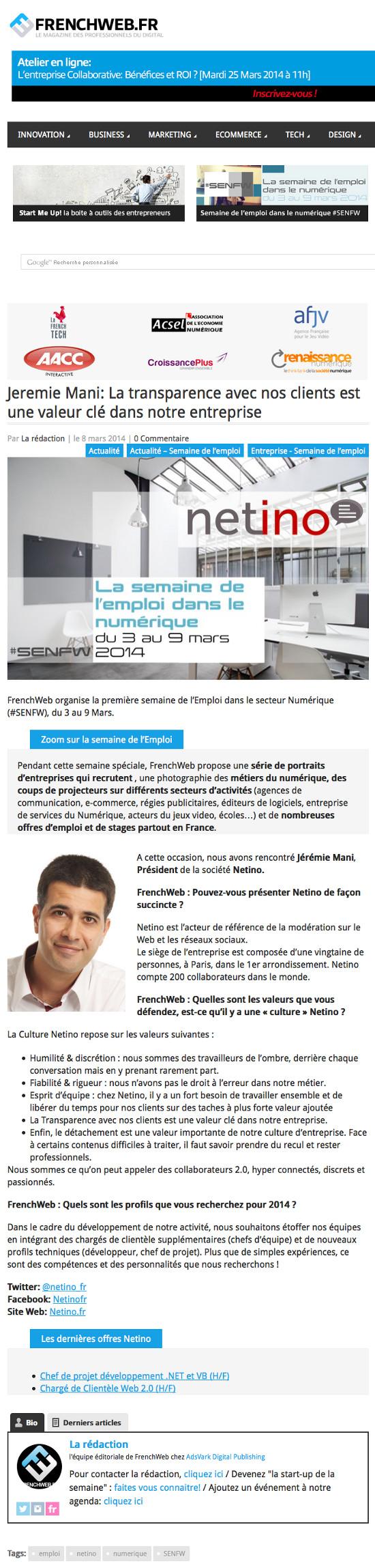 Interview de Jérémie Mani par FrenchWeb, lors de la semaine de l'emploi dans le numérique.