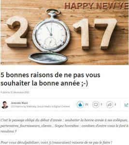 5 bonnes raisons de ne pas se souhaiter une bonne année 2017 :-)