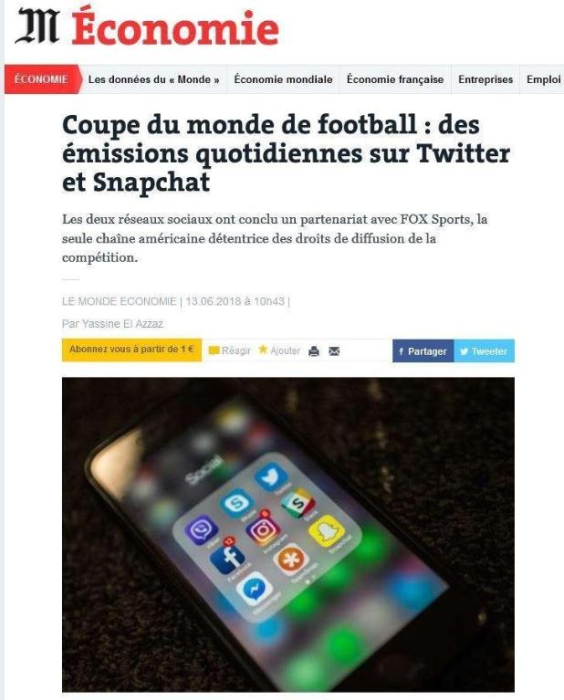 La Coupe du Monde sur les réseaux sociaux – Netino by Webhelp cité dans le Monde