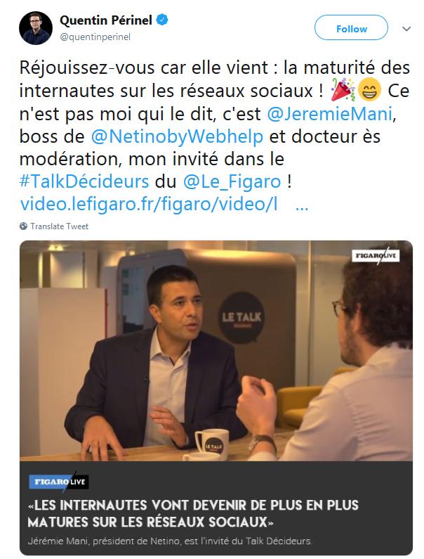 Jérémie Mani était l'invité du Talk Décideurs de Figaro