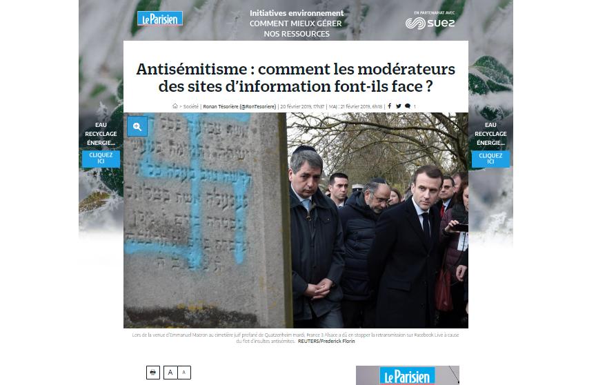 Jérémie Mani, président de Netino By Webhelp, interviewé par Le Parisien sur la modération des contenus antisémites en ligne