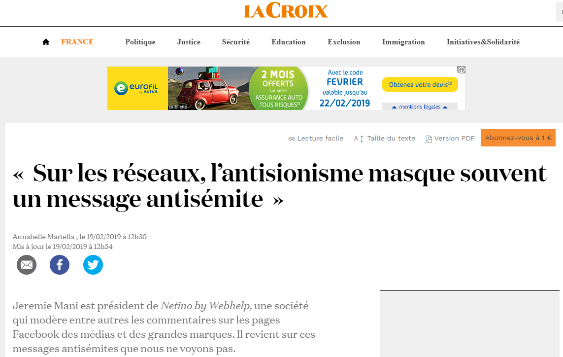 Jérémie Mani, président de Netino By Webhelp, interviewé par La Croix au sujet des commentaires antisémites