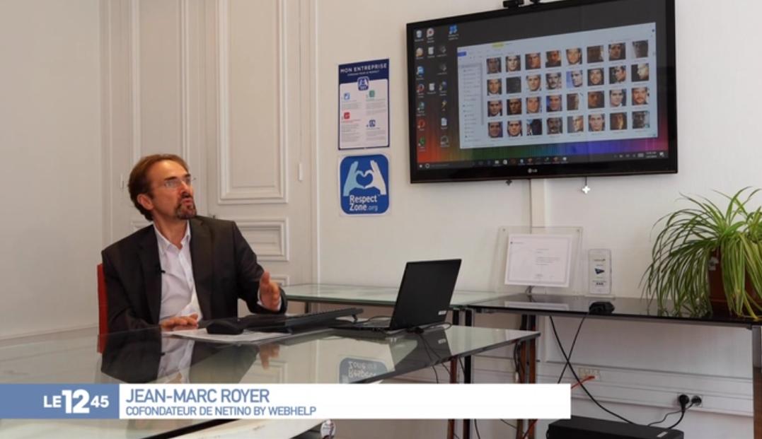 Jean-Marc Royer, DG de Netino by Webhelp, interviewé au 12:45 de M6 au sujet des Deep Fake
