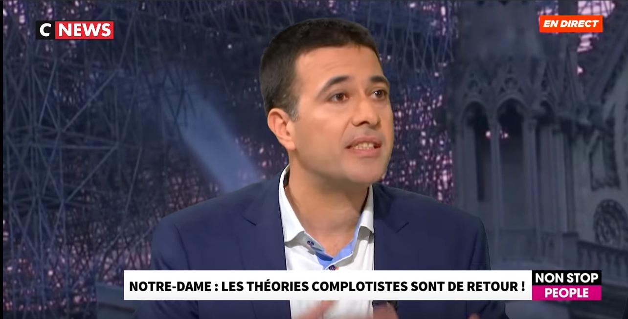 Jérémie Mani interviewé au Morandini Live de CNEWS : au sujet des complots lors de l'incendie de Notre-Dame de Paris