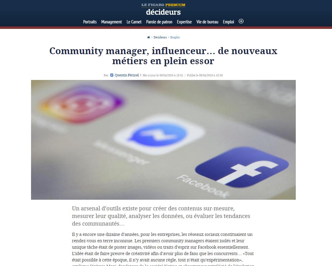 Community manager, influenceur… Jérémie Mani éclaire ces nouveaux métiers dans le Figaro