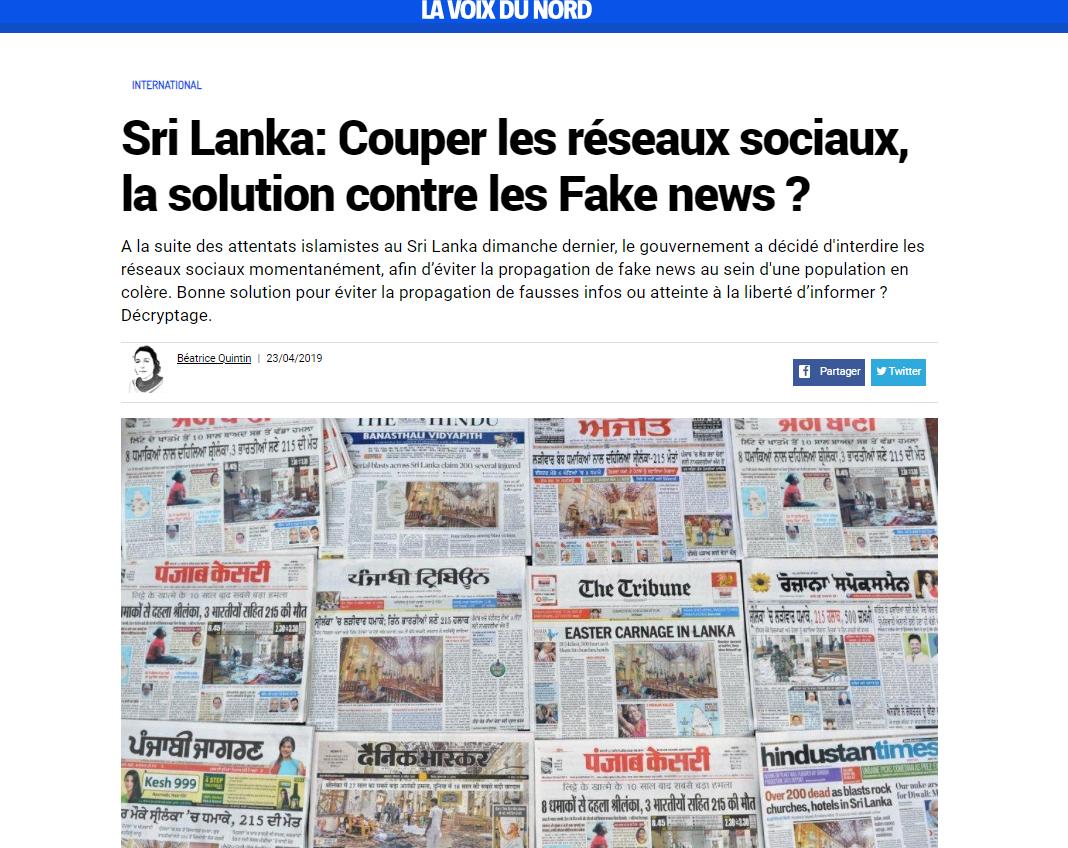 Jérémie Mani interviewé par la Voix du Nord, suite à la décision du Sri Lanka de couper les réseaux sociaux