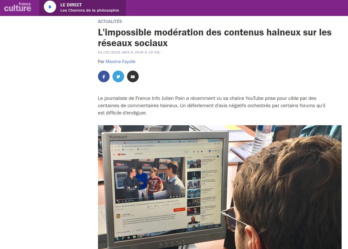 Les difficultés de modération des commentaires haineux, reliées au Panorama de la haine de Netino, par France Culture