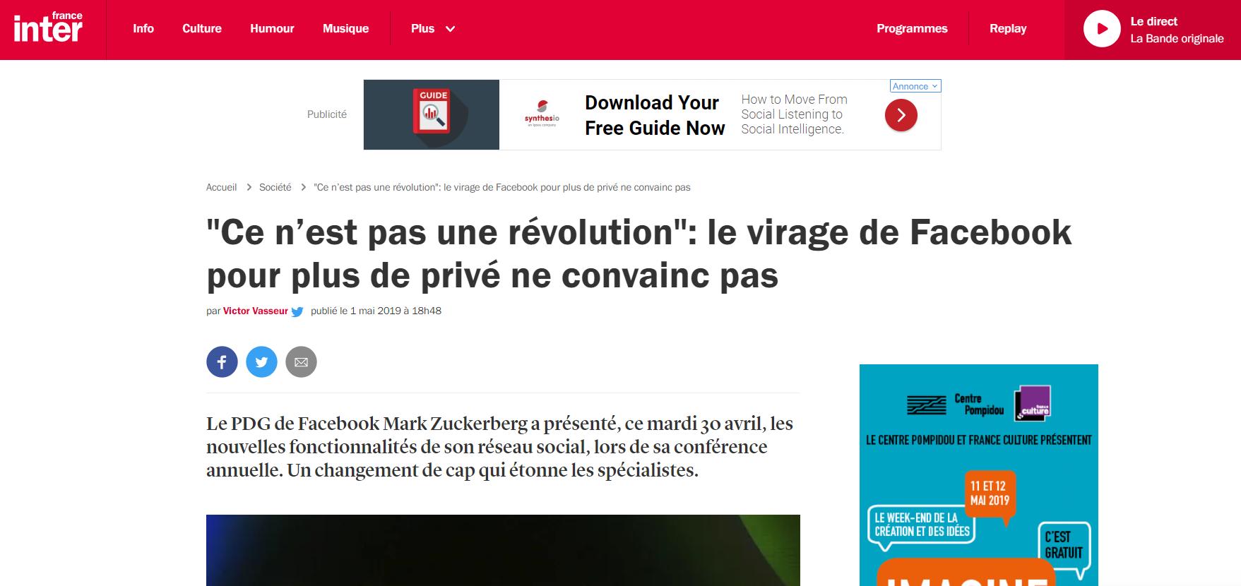 Les nouveauté Facebook : «Ce n'est pas une révolution» explique Jérémie Manie à France Inter