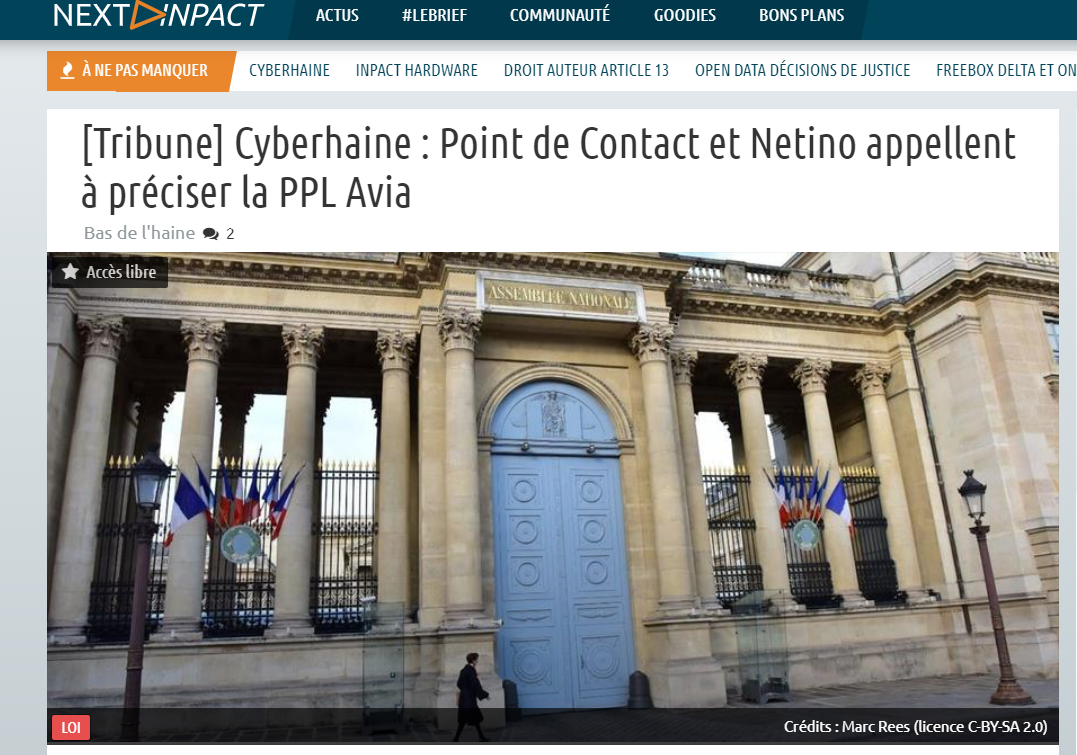 Cyberhaine et loi Avia : Point de Contact et Netino appellent à la précision (sur NextInpact)