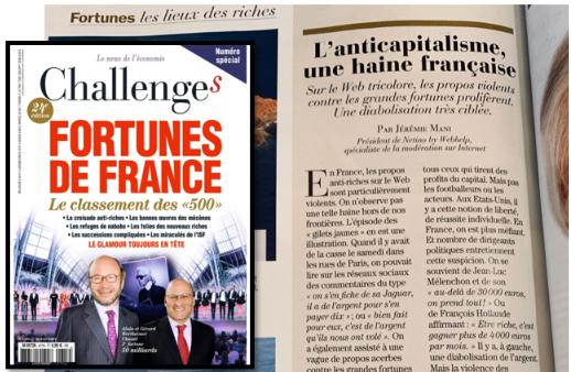 Jérémie Mani prend la parole dans le magazine Challenges pour commenter les virulents propos anti-riches aperçus sur le web.