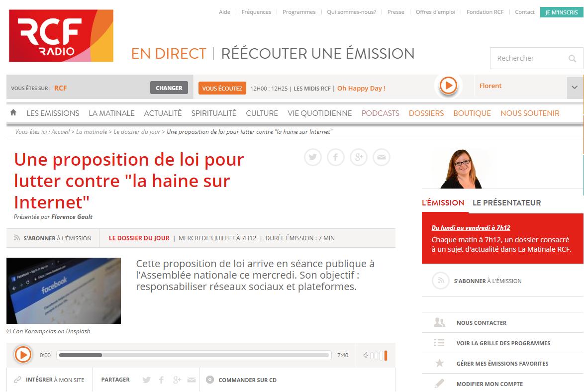 Jérémie Mani mentionné par RCF Radio au sujet du projet de loi pour lutter contre «la haine en ligne»