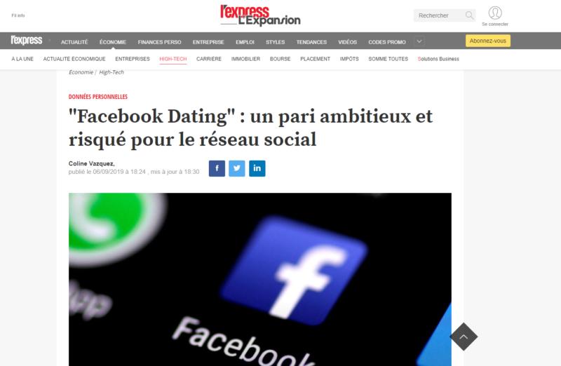 Jérémie Mani avertit des risques de la nouvelle application de rencontres de Facebook.