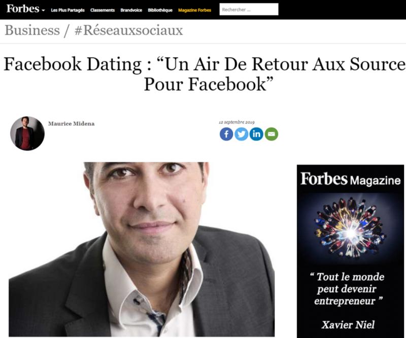 Le magazine Forbes a interviewé Jérémie Mani au sujet de «Facebook Dating»