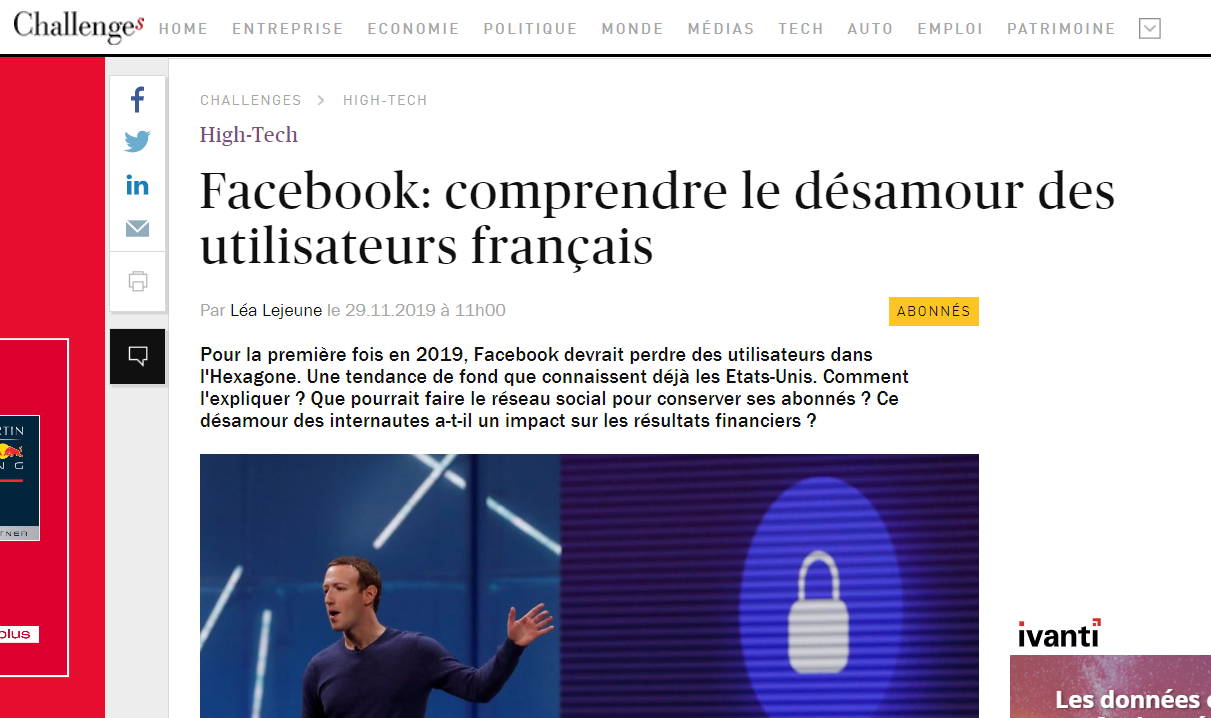 Netino by Webhelp dans le magazine Challenges à propos de Facebook.