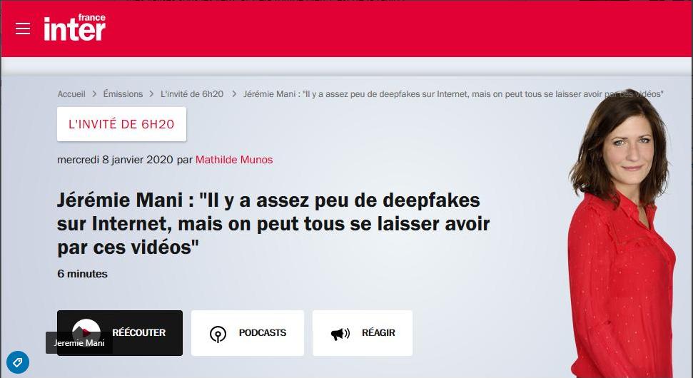 France Inter – La tendances des Deepfakes